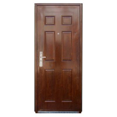 Puerta exterior de chapa reforzada marrón 85 cm derecha