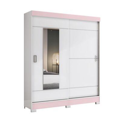 Placard 2 puertas corredizas con 2 cajones y espejo blanco reversible