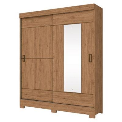 Placard 2 puertas corredizas con 2 cajones y espejo rústico