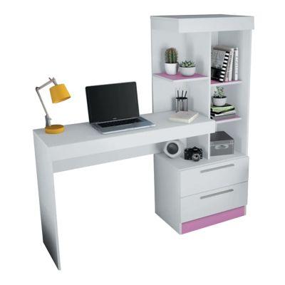 Escritorio Office plus con repisa y 2 cajones nogal
