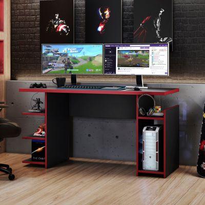 Escritorio Gamer de MDF con 5 estantes negro y rojo