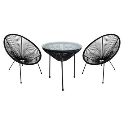 Juego de balcón: Mesa + 2 sillas Cozumel negro
