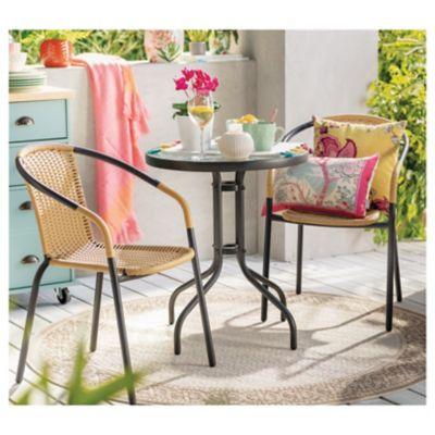 Juego de balcón: Mesa + 2 sillas Ratán natural