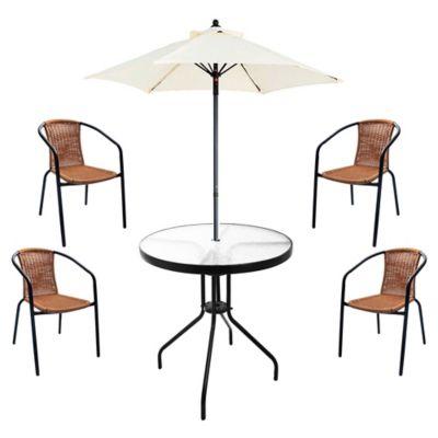 Juego de comedor: Mesa + 4 sillas + Sombrilla Ratán natural