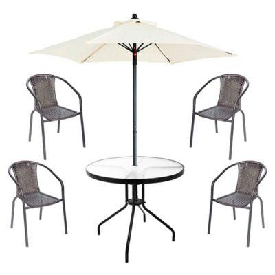 Juego de comedor: Mesa + 4 sillas + Sombrilla Ratán negro