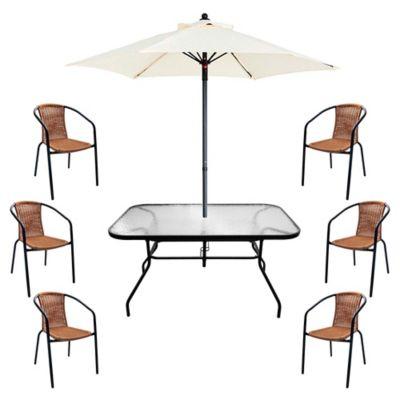 Juego de comedor: Mesa + 6 sillas + Sombrilla Ratán natural