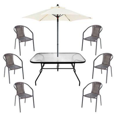 Juego de comedor: Mesa + 6 sillas + Sombrilla Ratán negro