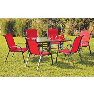 Juego de comedor: Mesa + 6 sillas Sling rojo