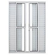 Porta Balcão de Correr Veneziana de Alumínio 6 Folhas Vidro Liso Abertura Central 210x150cm Branco Malta