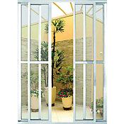 Porta Balcão de Correr de Alumínio 4 Folhas Vidro Liso Abertura Central 210x150cm Branco Malta