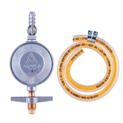 Regulador De Gás Com Registro 504/1 Com Mangueira 0,8M 1Kg/H