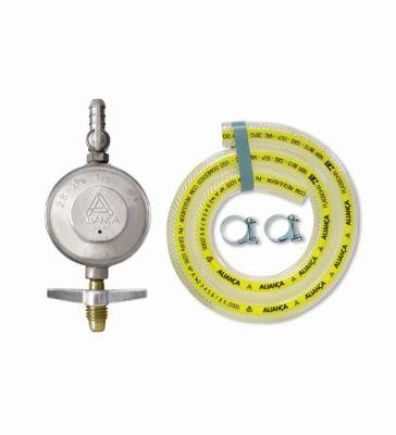 Regulador De Gás Com Registro 504/1 Com Mangueira 1,2M Cinza 1Kg/H