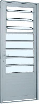 Porta de Abrir Basculante e Lambril Horizontal de Aluminio Esquerdo 216x88cm Branco Alumifort