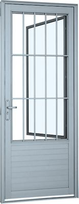 Porta Postigo Lambri Alumínio Branco Com Grade Direita 216x88x5,4cm Alumifort