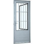 Porta Social Lambril Horizontal de Alumínio Grade Esquerdo 216x88cm Branco
