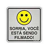 Placa Alumínio Sorria Você Está Sendo Filmado, Alumínio, 12x12