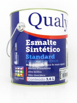 Esmalte Sintético Brilhante Branco Gelo 3,6L Qualycor Standard para Madeiras e Metais