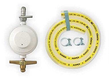 Regulador De Gás Com Registro 504/1 Com Mangueira 1,2M Branco 1Kg/H