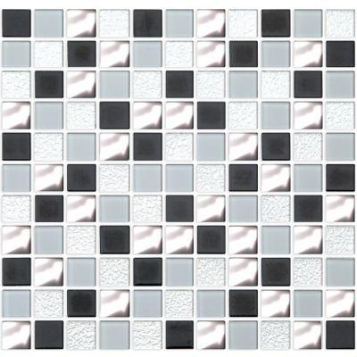 Pastilha de Vidro Textura Mix 2,5x2,5 30x30cm Prata
