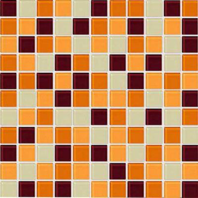 Pastilha de Vidro Miscelânea Mix-02 2.5x2.5 30x30, Marrom Placa 30x30