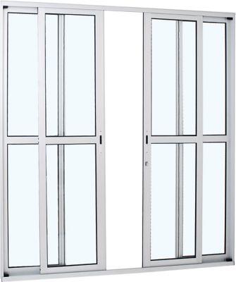 Porta de Correr Aluminio 4 folhas com Divisão Central 216x250x8,7cm Abertura Central Vidro Liso Branco Alumifort