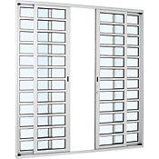 Porta de Correr de Alumínio 4 Folhas Divisória Horizontal 216x250cm Branco Alumifort