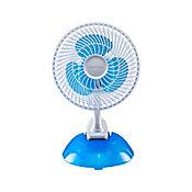Ventilador de Mesa 20cm 3pás Clip, Branco e Azul, 220V