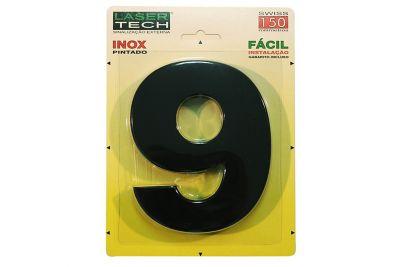 Algarismo Adesivo de Inox N9 15cm Preto