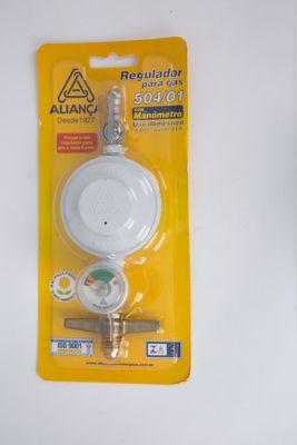 Regulador De Gás Com Registro 501/1 Com Indicador De Pressão Manômetro 1Kg/H