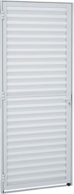 Porta Veneziana Alumínio Branco Direita 215x77x3,15cm Alumifit