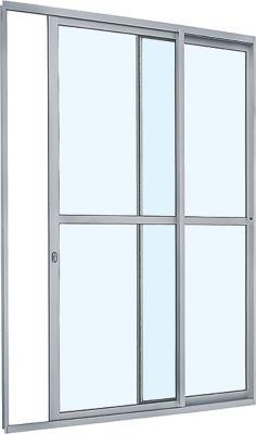 Porta de Correr com Travessa Alumínio Branco 2 Folhas Esquerda 216x160x6,6cm Alumifit