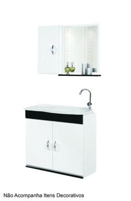 Kit Gabinete Verona para Banheiro com Gabinete 2 Portas Pia e Espelheira 60cm Branco e Preto