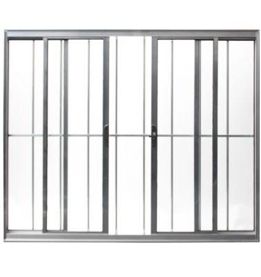 Vitro de Correr de Alumínio 4 Folhas Grade e Vidro 100x150cm Branco Malta