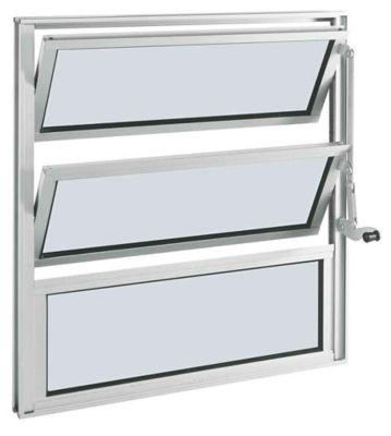 Janela Basculante 1 Basc Alumínio Branco 2 Folhas 60x80x3,3cm Alumifort