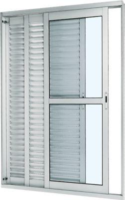 Porta Balcão Veneziana de Correr Alumínio Branco 3 Folhas Direita 216x150x14cm Aluminium