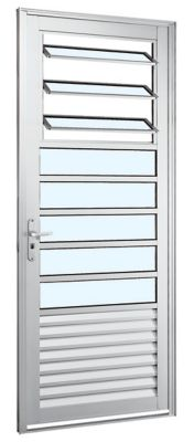 Porta Basculante de Alumínio Direito 216x88cm Branco Alumifort