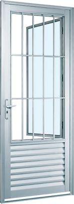 Porta Social de Alumínio Direito 216x88cm Branco Alumifort