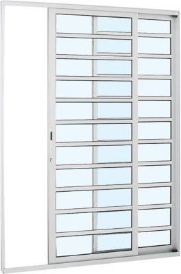 Porta de Correr com Travessa Alumínio Branco 2 Folhas Esquerda 216x160x8,7cm Alumifort