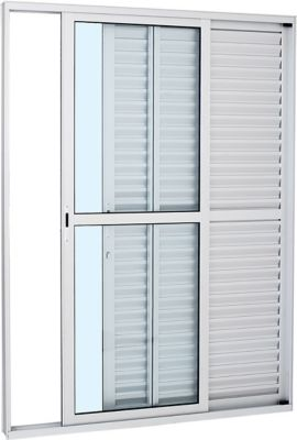 Porta Balcão Veneziana de Correr Alumínio Branco 3 Folhas Esquerda 216x160x13cm Alumifort