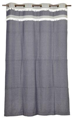 Cortina de Algodão Bicolor 150x230cm Cinza