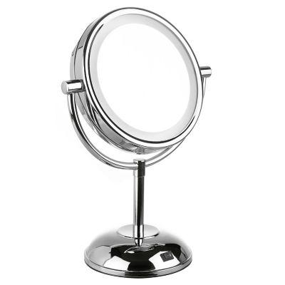 Espelho Cosmético Pé Duplo Com Luz, Cromado