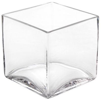 Vaso Cubo, Transparente, 12x12x12H, Home Collection - Baobei