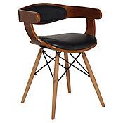 Cadeira Madeira Curva com Braço Pu, Preto