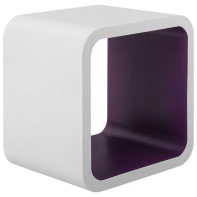 Cubo Decorativo, Branco e Roxo, 26x26x20cm