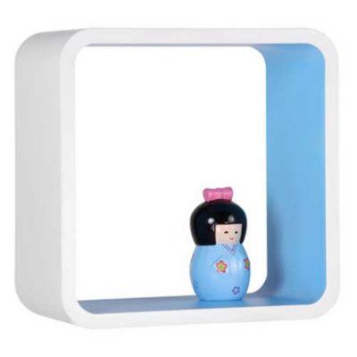Cubo Decorativo, Branco e Azul, 26x26x20cm