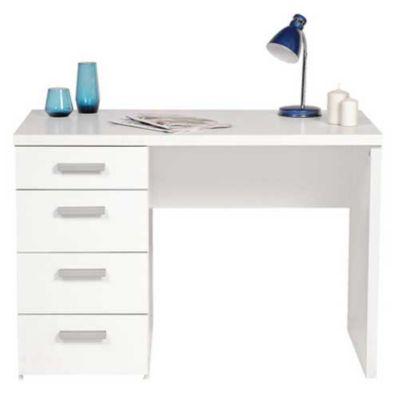 Escrivaninha Func com 4Gav 110x76x60Cm Br 2 Vol Branco - Tvilium Scanbirk