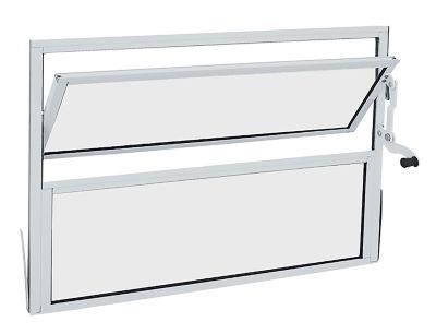 Janelas Basculante de Aluminio Vidro Mini Boreal 40x40cm Branco Alumifit