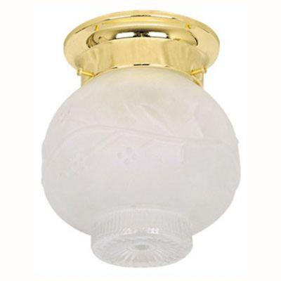 Plafon Bola 1 Lâmpada Vidro Cromado, Branco