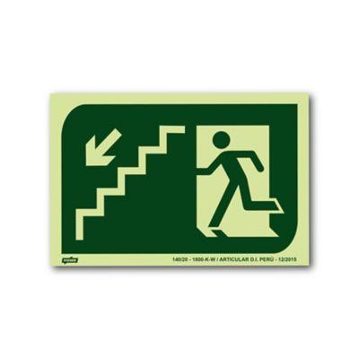 Sinal PVC Desce Escada Esquerda