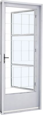 Porta Social de Aço Grade Quadrada Esquerdo 217x87cm Branco Pratika